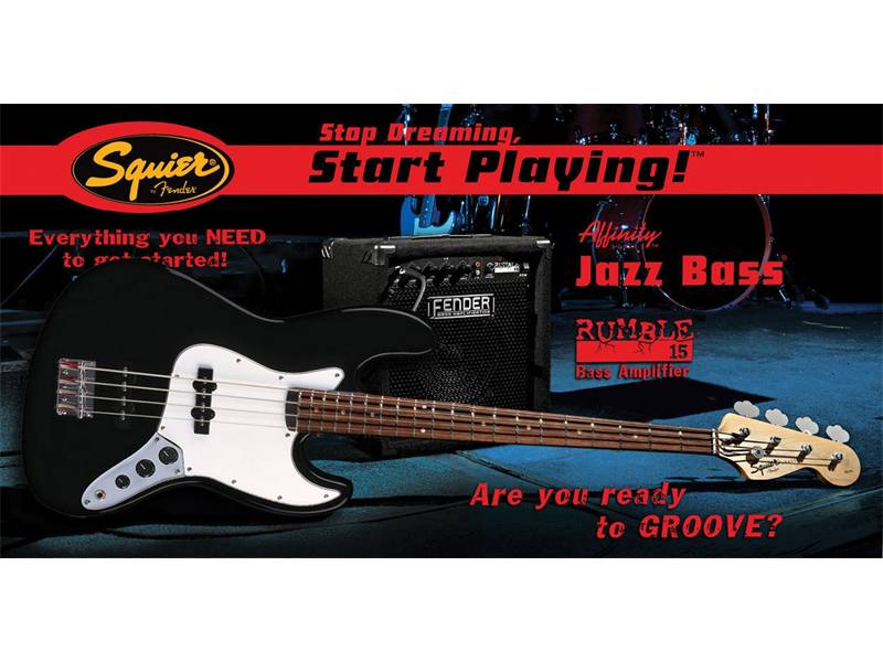FENDER SQUIER Affinity J-Bass with Rumble 15 amp Black | Basgitarové sety - 1