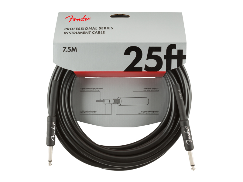 FENDER Professional Series Instrument Cable, Straight/Straight, 25', Black | Nástrojové káble - 1