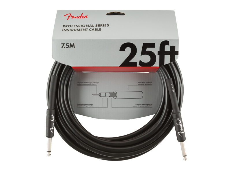 FENDER Professional Series Instrument Cable, Straight/Straight, 25', Black | Nástrojové káble - 4