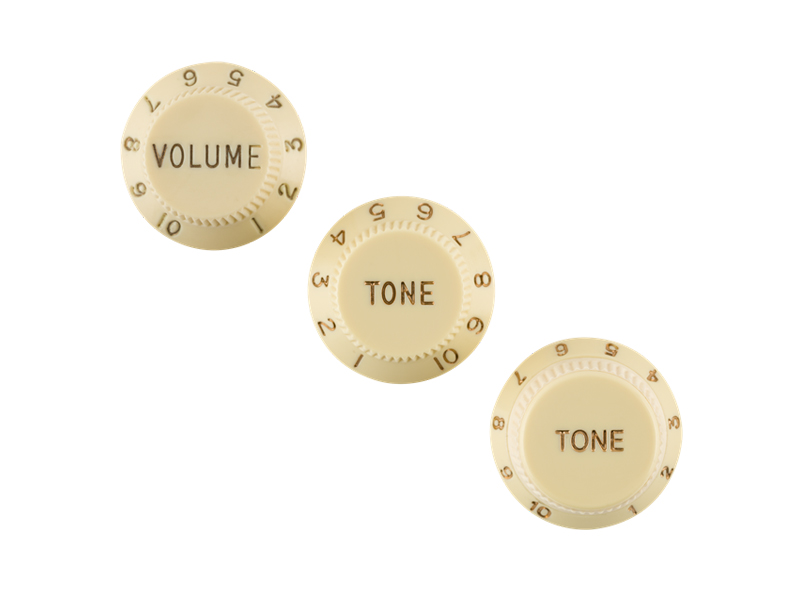 Fender Stratocaster Knobs, Aged White (Volume, Tone, Tone) Left-Handed | Potenciometre, knoby - 2