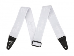 "Fender WeighLess 2"" Running Logo Strap, White/White"